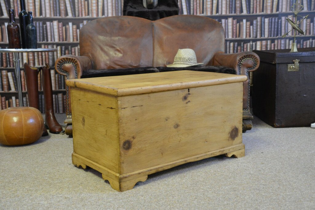 Antique Pine Chest on Carved legs