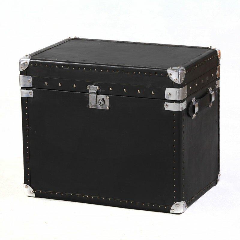 Black Leather Storage Trunk - Medium