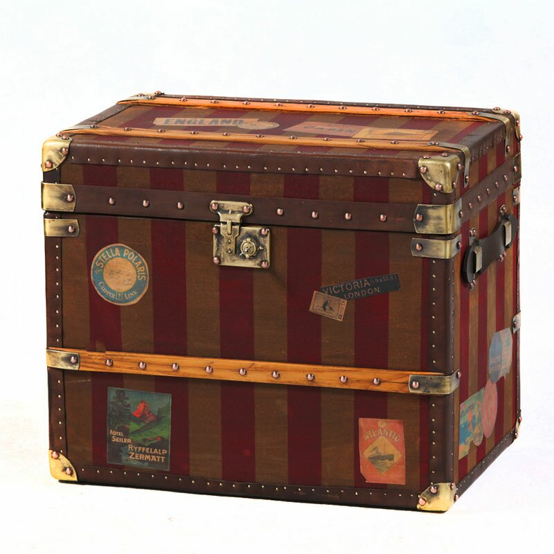 Canvas leather storage trunk chests trunks - Leather chests and trunks ...
