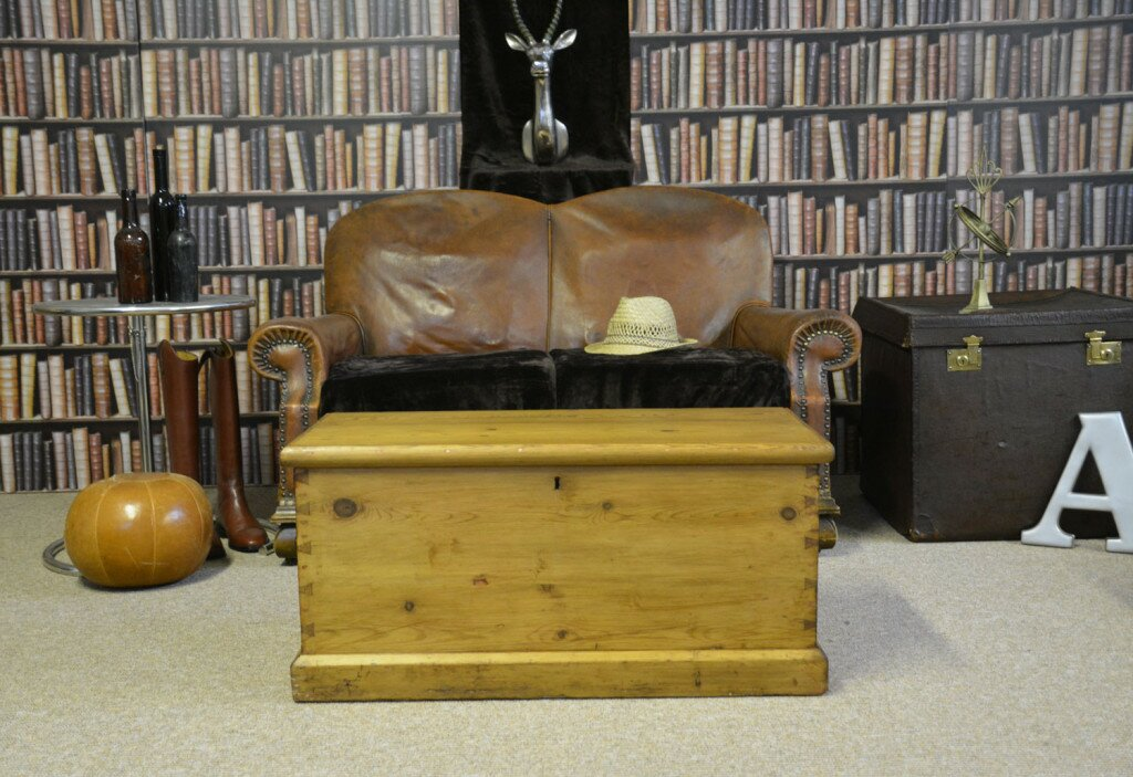 Antique Vintage Pine Chest / Blanket Box